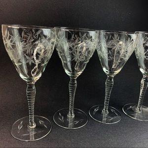 Vintage Champagne Cut Stem Glasses